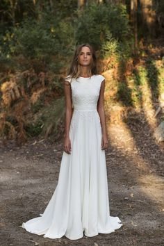 Wonderful Perfect Wedding Dress For The Bride Ideas. Ineffable Perfect Wedding Dress For The Bride Ideas. Rustic Wedding Dresses, Bridal Dresses, Wedding Dress Simple, Simple White Dress, Wedding Dress Bohemian, Boat Neck Wedding Dress, Classic Wedding Dress, Modest Wedding Dresses, Cap Sleeved Wedding Dress