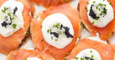 Buy salmon canapes with traditional Russian caviar by vpardi on PhotoDune. detail of a series of salmon canapes with traditional Russian caviar served on a tray Brunch Wedding, Wedding Book, Wedding Make Up, Breakfast Buffet, Breakfast Recipes, Russian Caviar, Salmon Canapes, Buy Salmon, Colorful Fruit