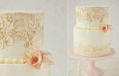 buttercream and edible lace cake from I Sugar Coat It