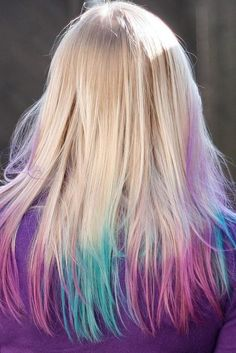 Pink & Blue Pastel Tips - Hairstyles and Beauty Tips