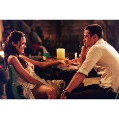 Angelina Jolie and Brad Pitt on the set of Mr and Mrs smith