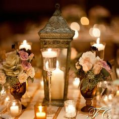 Elegant #wedding table decor, candle favors