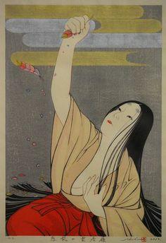 "Artist completes his life project--Genji's world in 12 ukiyo-e prints - ""Wakuran no Kumoinokari"" (Provided by Shusui Taki)"