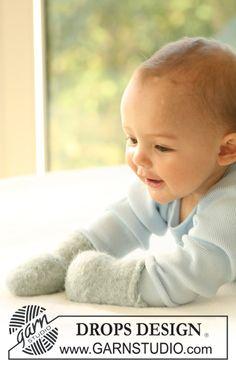 Thomas / DROPS Baby 17-13 - Tovade DROPS vantar med eller utan tumme i 2 trådar Alpaca.