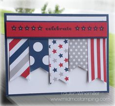 Stampin' Up! Paper Pumpkin Kit June 2014, Fourth of July, Red White Blue. Details and tutorial on my blog @ www.midmostamping.com