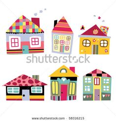 stock vector : Collection of cute houses in a whimsical childlike style.