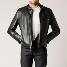 """This Schott 141 naked cowhide leather jacket from Schott features their classic fit with a removable liner, bi-swing back with underarm footballs. Details: *26"""" naked cowhide *Removable pile liner *Bi"""