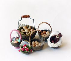 Free tutorial to make tiny baskets to fill with Easter eggs or fairy treasure. Megan's Tiny Treasures: How to make a Fairy Basket from an Acorn Cup
