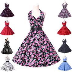 8 Style Vintage Rockabilly Polka dots Retro Swing 50s 60s pinup Housewife Dress