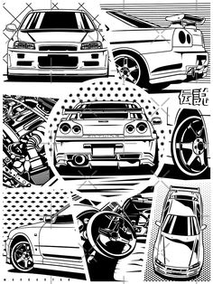 'Skyline GT-R Details ' Poster by OlegMarkaryan Skyline Gtr R34, Nissan Skyline, Weird Cars, Cool Cars, Nissan Gtr R34, Cool Car Drawings, Jdm Wallpaper, Drifting Cars, Car Illustration
