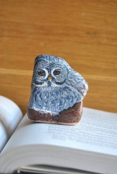 Hand Painted Stone Folk  Owl River rock Artwork by LadyBugCo, $12.50