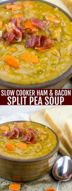 Fix it and forget it is the way to go with this Slow Cooker Ham and Bacon Split Pea soup! Warm, cozy and delicious for those chilly days. So since fall is right around the horizon and soup is something that I feel is a staple any time of the[Read Slow Cooker Bacon, Crock Pot Slow Cooker, Slow Cooker Recipes, Crockpot Recipes, Soup Recipes, Cooking Recipes, Bacon Recipes, Supper Recipes, Casserole Recipes