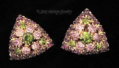 Vintage WEISS signed PURPLE olive Green rhinestone PYRAMID gold EARRINGS clip #Weiss #VintageEarrings