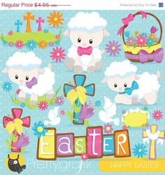 80% OFF SALE Easter lamb clipart commercial by Prettygrafikdesign