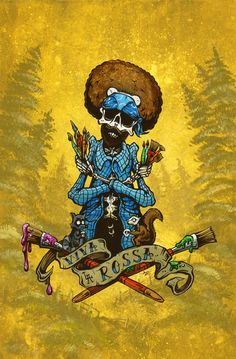 Viva la Rossa: Bob Ross Tribute by David Lozeau as seen in the Museum's exhibit.