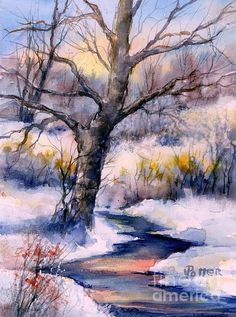 Lovely, soft winter watercolor! by Virginia Potter: