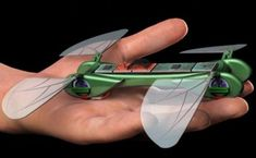 A dragonfly micro UAV flies like a bird with the ability to both fly at high speeds and hover, developed by a team from Georgia Tech, called the TechJect Dragonfly. Have a look at the video… Dragonfly micro UAV fits in your palm and combines the flight capabilities of a fixed wing aircraft in and a quadricopter. It weighs around 25 g and is powered by a 250 mAh lithium battery that provides hover times of 8-10 minutes and a hover/flight time of 25 to 30 minutes.