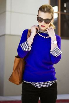 Black and White Gingham and Blue Sweater 青 ブルー style styling coordinate ニット トップス コーデ コーディネート blue knit tops outfit