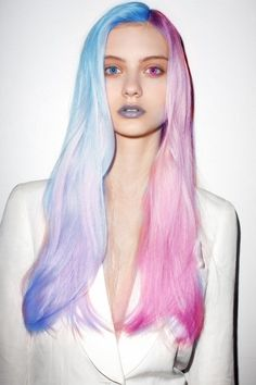 Almost 3D. alternative girl, blue hair, pink hair, colorful hair, girl in white, hairstyle, lips, beautiful girl, colored contact lenses