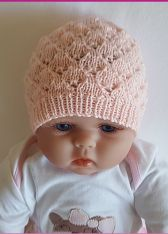 Knit this beautiful lace beanie for baby. Worked in yarn, the pattern includes sizes 0 to 12 months. Knit Beanie Pattern, Baby Hat Knitting Pattern, Baby Hat Patterns, Baby Hats Knitting, Knitted Baby Beanies, Knitted Hats, Newborn Knit Hat, Knitting For Charity, Knitting Projects