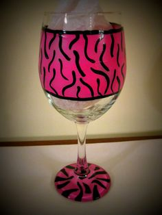 Pink Zebra Print 20 oz Hand Painted Wine Glass by SassySippings, $15.00