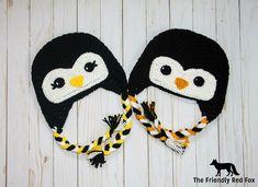 Free Penguin Crochet Hat Pattern - thefriendlyredfox.com Crochet Animal Hats, Crochet Penguin, Crochet Horse, Crochet Octopus, Crochet Dragon, Crochet Kids Hats, Crochet For Boys, Free Crochet, Hat Crochet