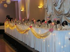 kind of like this for head table, guest table, gift table, and cookie bar but blue/silver tulle and no flowers
