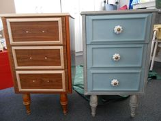 Beside tables, done in French Linen and Duck Egg Blue, which would you prefer?