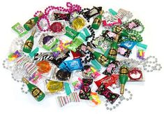 Pinata Filler Pack: 8 Pkgs of Penis Candy (5 little penises in each), 8 Colored Condoms, 8 Lube Pillow Packs, 8 Bottles of Champagne Bubbles, 8 Bachelorette Party Beads, 8 penis erasers OR 8 blow pops OR 8 ring suckers, 16 Assorted Bachelorette Party/Zebra Print Buttermints. 19.95. Room to add more treats: www.bachelorettesuperstore.com/page/100/PROD/14000/pinata-filler