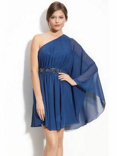 Robe Soiree Courte Bleue Epaule Seule SV3048 :