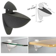 """Dolle Ara Anthracite Adjustable Glass or Wood Shelf Bracket by Dolle. $11.95. For Glass Shelves or Wood Shelves from 1/4"""" to 1"""" Thick. For Shelves Up to 14"""" Deep (Protrusion from Wall) The Dolle ARA shelf support is made of durable die-cast metal and powder-coated finished for a beautiful look. These shelf supports are designed so no mounting screws or hardware are visible once installed. Hanging the shelf supports is simple and quick. Screws, anchors and assembly inst..."""