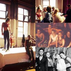 "20 years ago today (April the Spice Girls filmed the video for their debut single, ""Wannabe""! IMAGE: Photos from the rehearsal and filming of ""Wannabe"", via The Spice Girls Shop on FB."