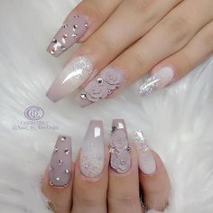 Mauve and White Nails - Tapered Square fead1517aed2