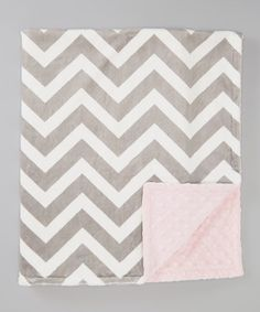 Look what I found on #zulily! Baby Pink & Gray Zigzag Minky Stroller Blanket by The Minky Boutique #zulilyfinds