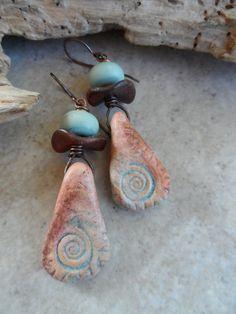Arizona Ammonite ... Polymer Clay Ceramic Lampwork by juliethelen, $32.00