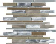 Expresso Blend Brushed Aluminum Glass Random Strip Mosaic Tile #Profiletile
