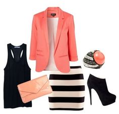 The Pink Suit, Striped Skirt and Ankle Boots for Spring 2014 Outfit Ideas - awesome outfit for the office.