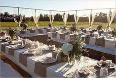 burlap and mason jars outdoor wedding reception