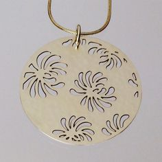 Round Necklace w/Chrysanthemums by sarahboodesigns on Etsy