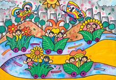 'Air Freshener Flower Car' by Jearsy Loraine M. Chua, Aged 8, Philippines: 3rd Contest, Bronze #KidsArt #ToyotaDreamCar