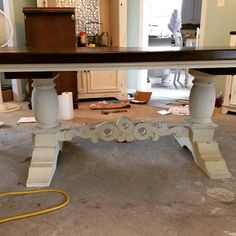 Gargantuan table done!! #PaintedFurniture #SunBakedTreasures Excuse the mess...the client was remodeling.