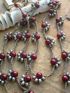 Long crochet necklace Starlet silver wine pearls by - new season bijouterie Macrame Jewelry, Boho Jewelry, Jewelry Crafts, Silver Jewelry, Handmade Jewelry, Silver Ring, Jewellery Box, Silver Earrings, Jewellery Shops