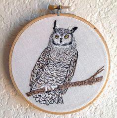 Owl Embroidery  Pinned by www.myowlbarn.com