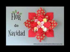 Manualidades y tendencias: Flor de Navidad de papel ; Christmas paper flower Flor de #Navidad de papel / #Christmas paper flower www.manualidadesytendencias.com #papel #papier #paper #flower #fleur #flor #manualidades #loisirs #créatifs #crafts #diy #origami #Noël