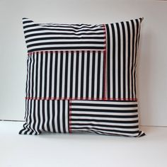 patchwork pillow cover, black and white stripes with red topstitching, 20X20 crazy quilt cushion cover