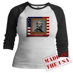 Civil War Union Gen. George Meade image on the United States Flag, available on a variety of shirts, hats, mugs, bags, etc. Stop by and take a look around!