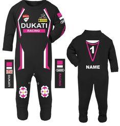 Car racing baby grow babygrow pink cow baby race romper suit made in UK