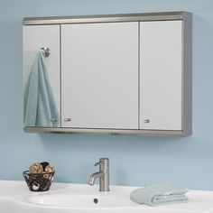 Cosmopolitan Stainless Steel Tri-View Medicine Cabinet with Mirror - 32""
