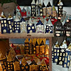 Home sweet Home dekorace do bytu vhodné k zavěšení např. na stromeček, do okna, na dveře, na věnec..atd. domečky jsou ušite vycpané a následně zdobené zlato-bílou barvou azlatou konturou mají lepené ozdoby jako např.březové hvězdy/mašličky/ atd.... cena domečku je uvedná za kus mini domečky 60,- sřední domečky 80,- velké domečky 130,- pokud máte o domeček zájem ...