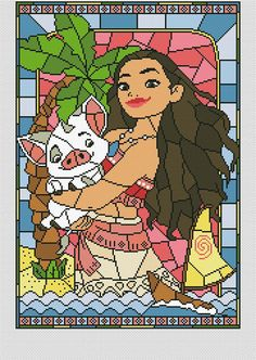 Disney cross stitch pattern Moana pdf. Stained